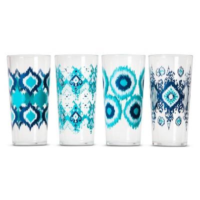 Boho Boutique Plastic Tumblers 22oz - Ikat Blue - Set of 4