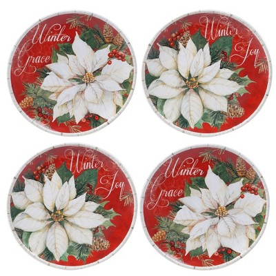 "11"" 4pk Earthenware Winter Garden Dinner Plates - Certified International"