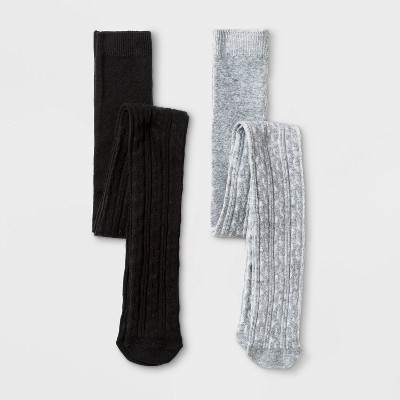 Girls' 2pk Cable Knit Cotton Tights - Cat & Jack™ Gray/Black