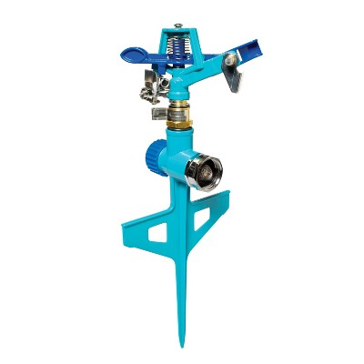 Aqua Joe AJ-ISSS Indestructible Zinc Impulse 360 Degree Sprinkler | Waters up to 1390 Sq Ft | Customizable Coverage