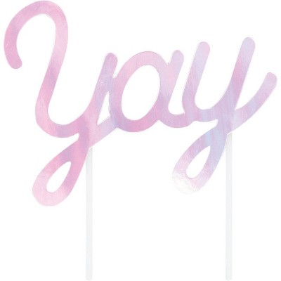 """""""Yay"""" Iridescent Party Cake Topper"""