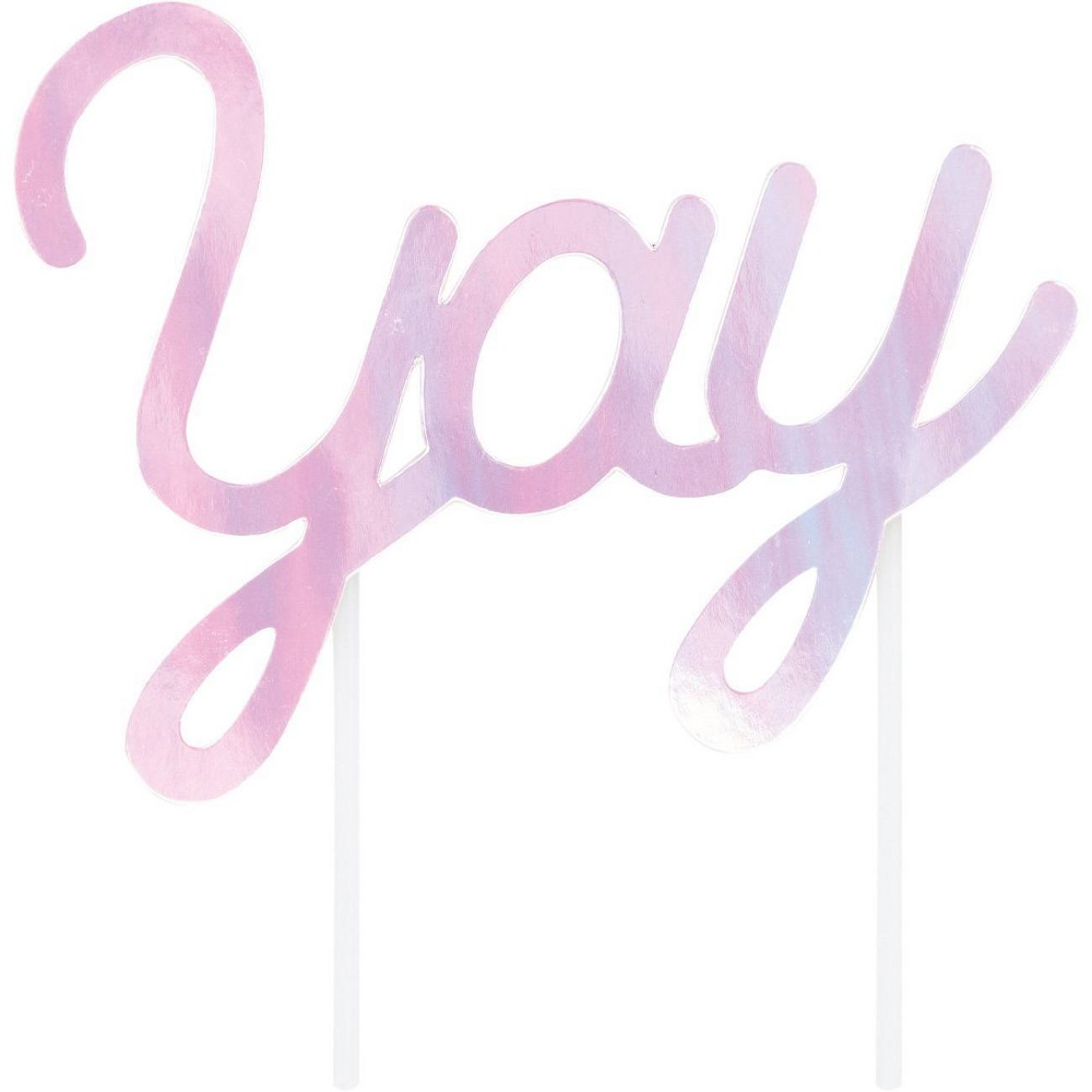 Yay Iridescent Party Cake Topper