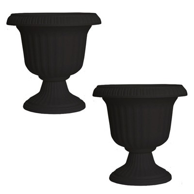 Southern Patio Large 14 Inch Outdoor Lightweight Resin Utopian Urn Planter, Black (2 Pack)