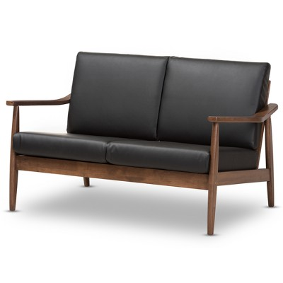 Venza Mid-Modern Walnut Wood Faux Leather 2 Seater Loveseat Black - Baxton Studio