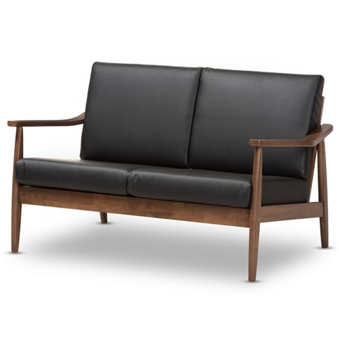 Remarkable Venza Mid Modern Walnut Wood Faux Leather 2 Seater Loveseat Black Baxton Studio Dailytribune Chair Design For Home Dailytribuneorg