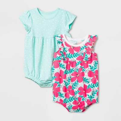 Baby Girls' 2pk Floral Romper Set - Cat & Jack™ White 6-9M