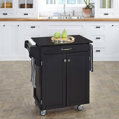 Small Kitchen Cart With Granite Top Wood/Black   Home Styles : Target