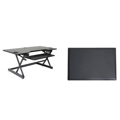 "46"" Adjustable Desk Riser with Medium Energizing Mat Black - Rocelco"