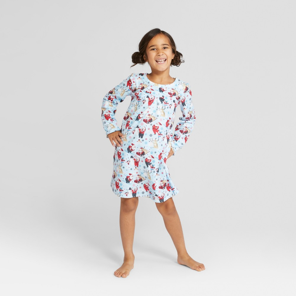 Girls' Holiday Santa Notch Collar Mommy and Me Nightgown - Wondershop Light Blue L