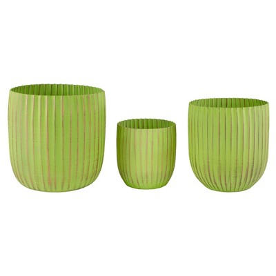 "Napa Home & Garden Set of 3 Green and Gold Ribbed Planter 6.25"""