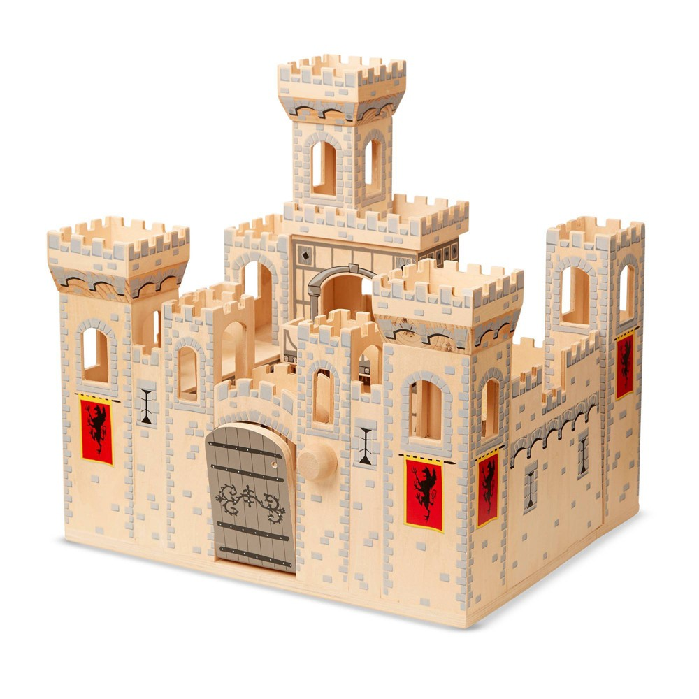 Melissa 38 Doug Deluxe Folding Medieval Wooden Castle Hinged For Compact Storage