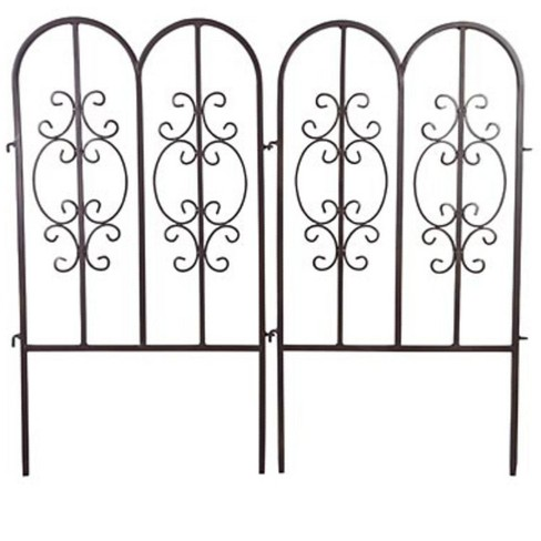 Montebello Outdoor Decorative Garden Fence, Set Of 4 Iron Fencing - Plow & Hearth - image 1 of 2
