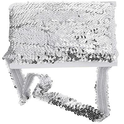 Elastic Silver Sequin Ribbon Trim Sewing Crafts DIY Dress Embellish for Wedding
