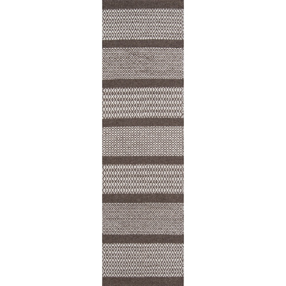 2'3X8' Stripe Woven Runner Brown - Momeni