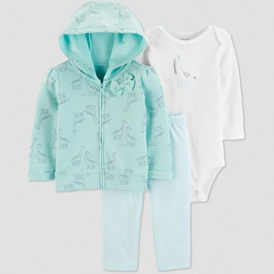 Baby Girls' 3pc  Giraffe  Long Sleeve Cotton Cardigan Set - Just One You® made by carter's Blue Newborn