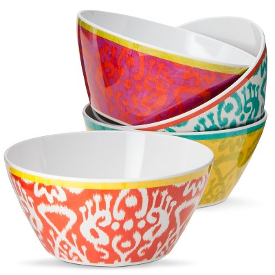 Ikat Print Melamine Assorted Cereal Bowl - 27oz Set of 4