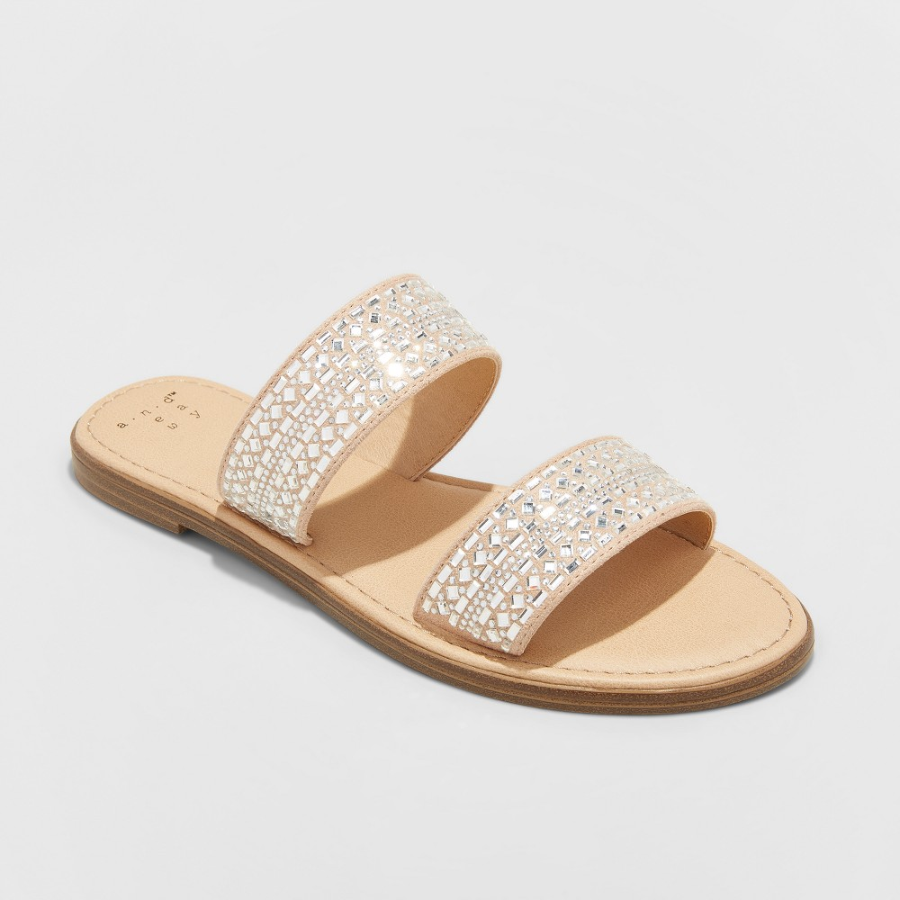 Women's Kersha Embellished Slide Sandals - A New Day Taupe (Brown) 8.5