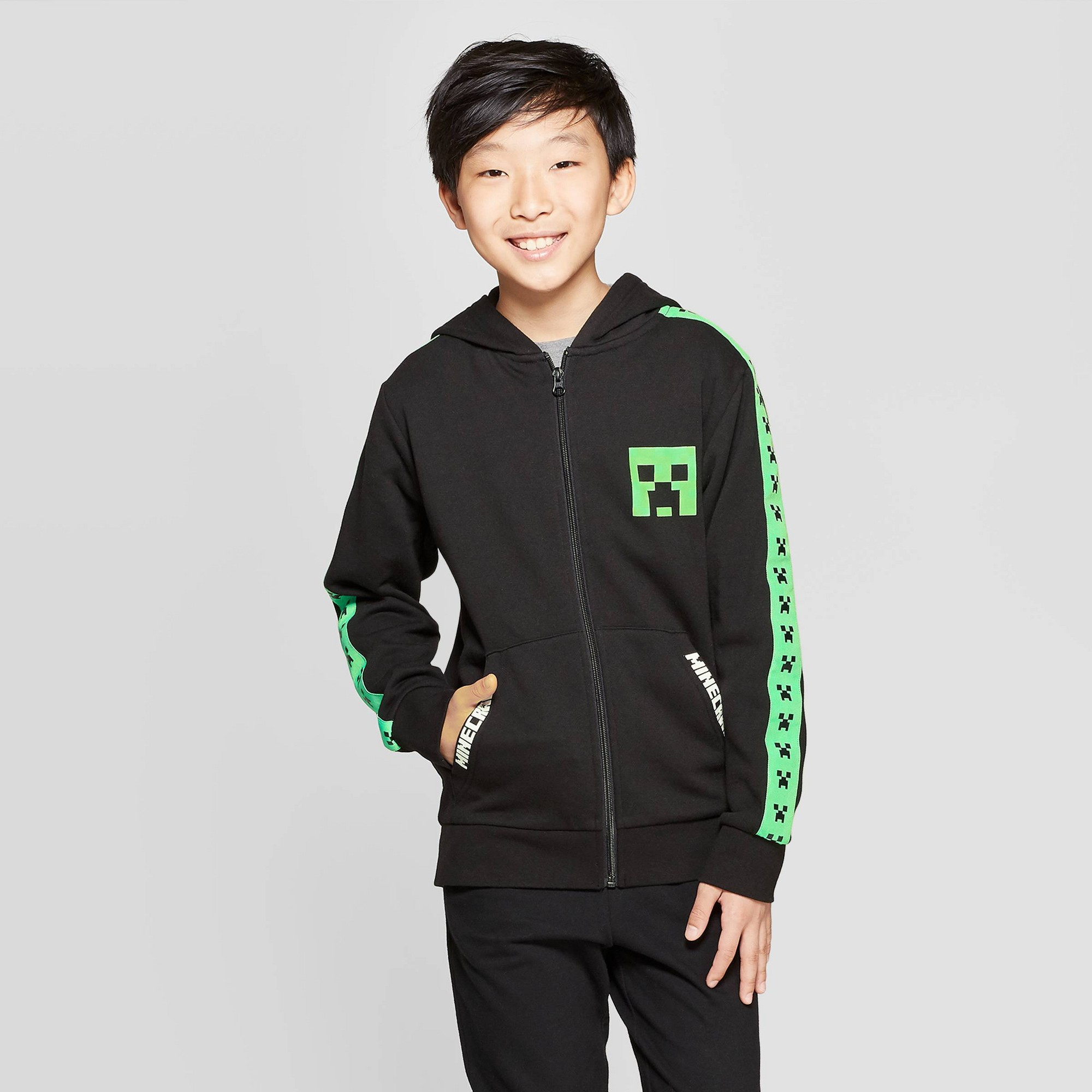 Boys' Minecraft Black Creeper Hoodie - Black/Green XS, Green Black