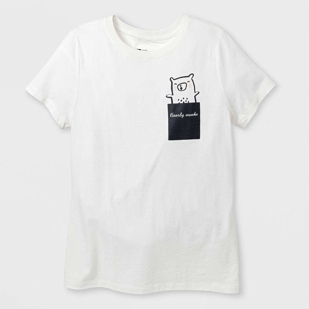 Women's Short Sleeve 'Bearly Awake' Graphic T-Shirt - Almond Cream M, Beige