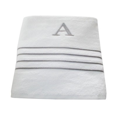 Monogram Bath Towel A - White/Skyline Gray - Fieldcrest®