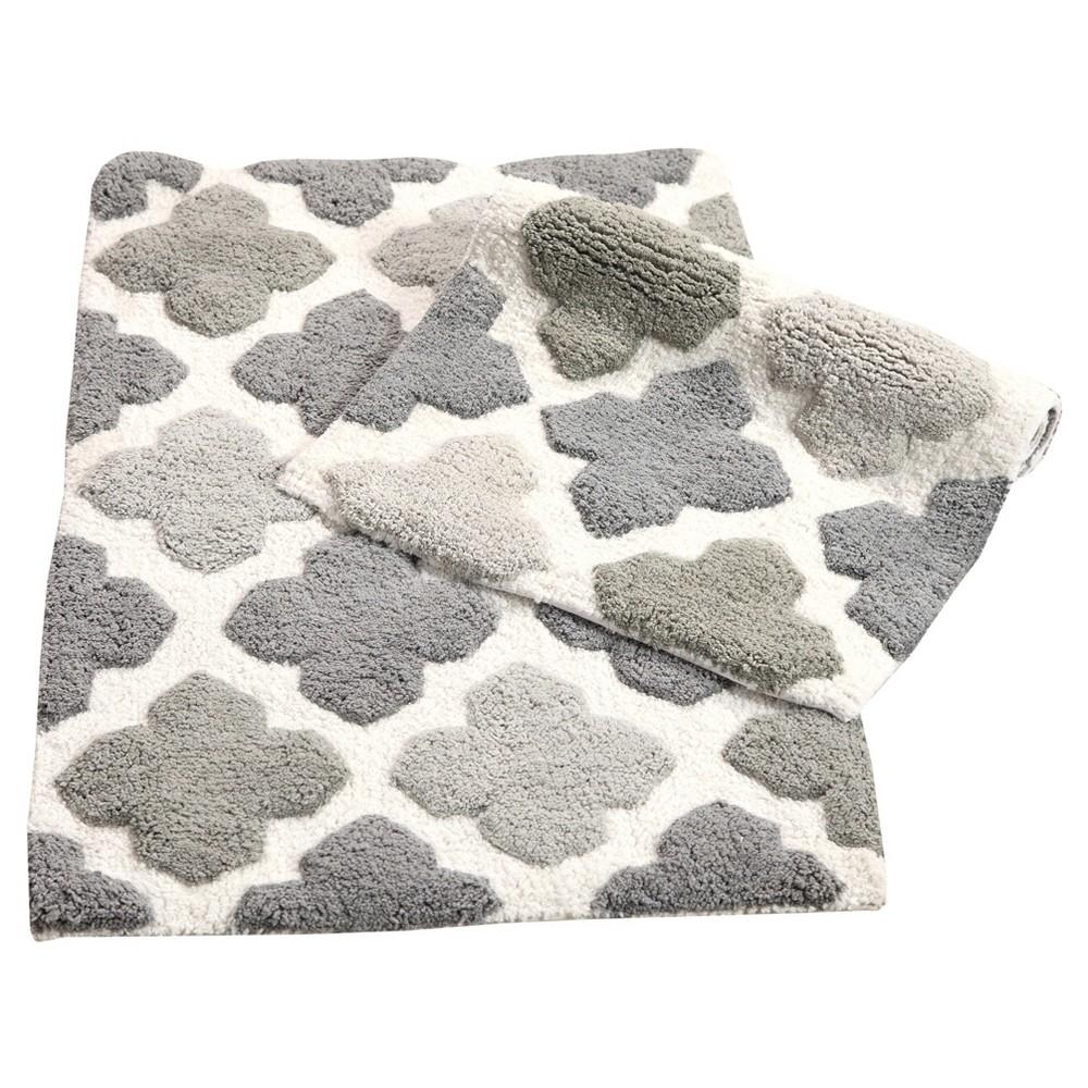 Image of Alloy Moroccan Tiles 2 Piece Bath Rug Set Gray - Chesapeake Merchandising Inc.