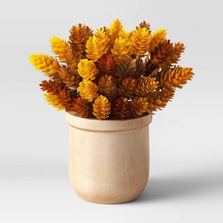 "9"" x 5"" Artificial Hopps Arrangement in Wood Pot - Threshold™"