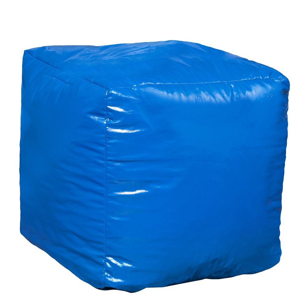 Parker Vinyl Bean Bag Cube Ottoman - Blue - Christopher Knight Home