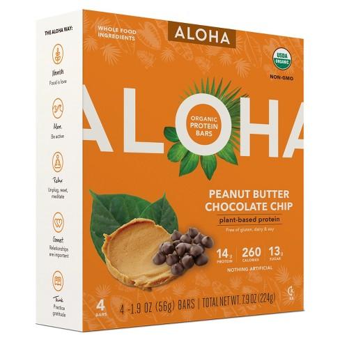 Aloha Organic Vegan Plant-Based Protein Bar - Peanut Butter Chocolate Chip - 1.9oz/4pk - image 1 of 1