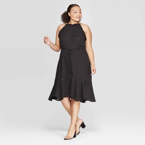 Women\'s Plus Size Polka Dot Short Sleeve Halter Neck Mini Dress ...