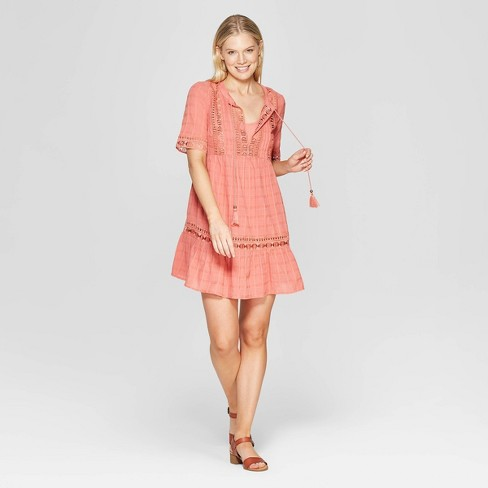 c0ea8e307d Women s Elbow Sleeve V-Neck Shift Midi Dress With Embroidery - Knox Rose™
