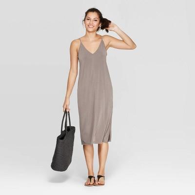 Women's Casual Fit Sleeveless V Neck Sandwash Midi Dress   A New Day by Neck Sandwash Midi Dress