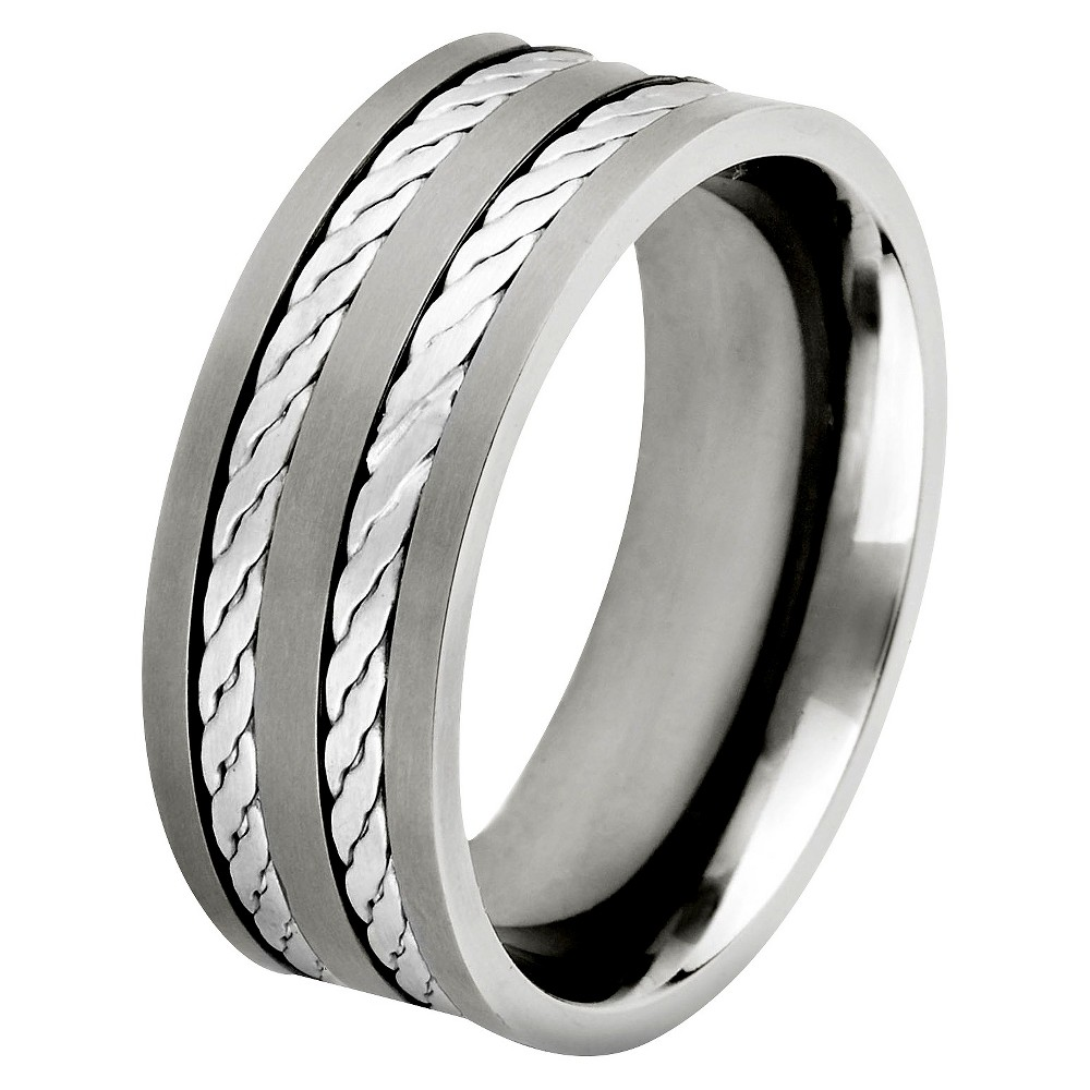 Men's Crucible Titanium and Sterling Silver Double Rope Inlay Ring (12)