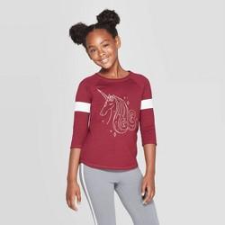 Girls' Unicorn Baseball T-Shirt - Cat & Jack™ Burgundy