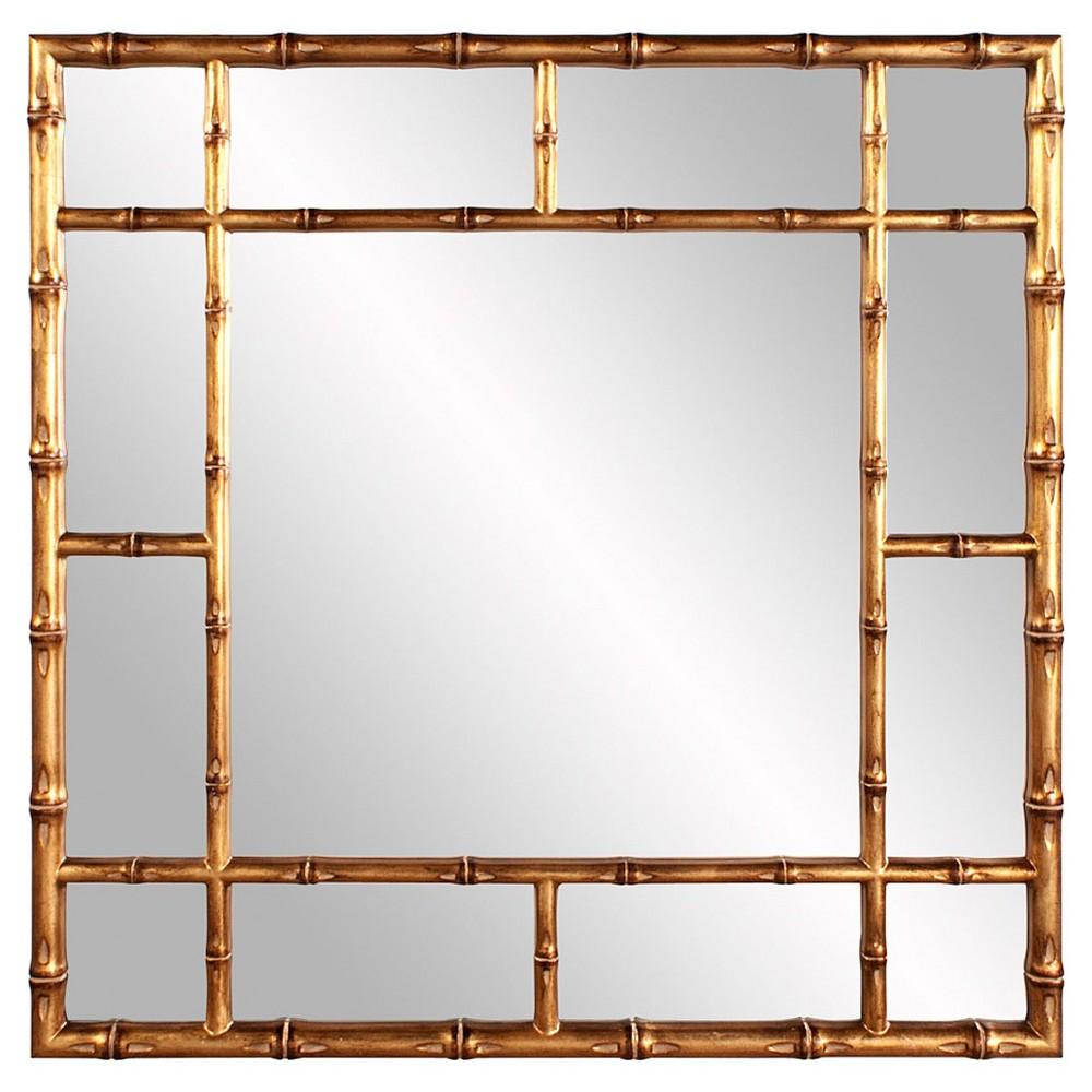 Square Bamboo Decorative Wall Mirror Bright Gold - Howard Elliott