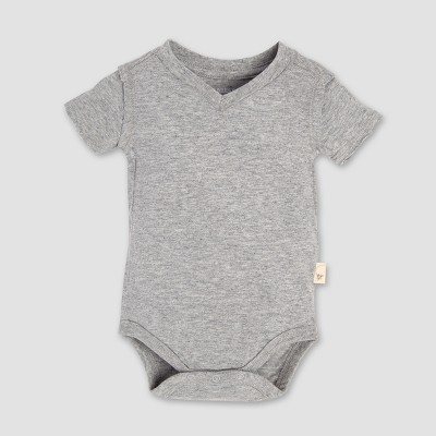 Burt's Bees Baby® Short Sleeve V-Neck Bodysuit - Heather Gray 3-6M