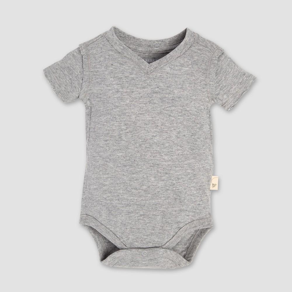 Burt's Bees Baby Short Sleeve V-Neck Bodysuit - Heather Gray 6-9M, Infant Unisex
