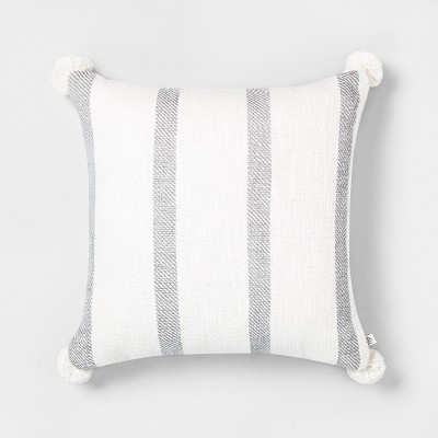 "18"" x 18"" Bold Stripes Pillow Gray / Sour Cream - Hearth & Hand™ with Magnolia"