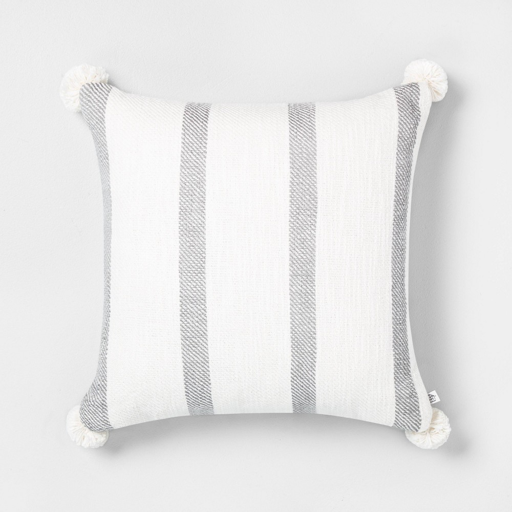 "Image of ""18"""" x 18"""" Bold Stripes Pillow Gray / Sour Cream - Hearth & Hand with Magnolia"""