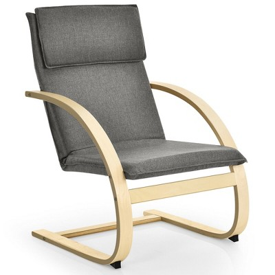 Costway Modern Bentwood Lounge Chair Fabric Upholstered Accent Leisure Armchair Gray