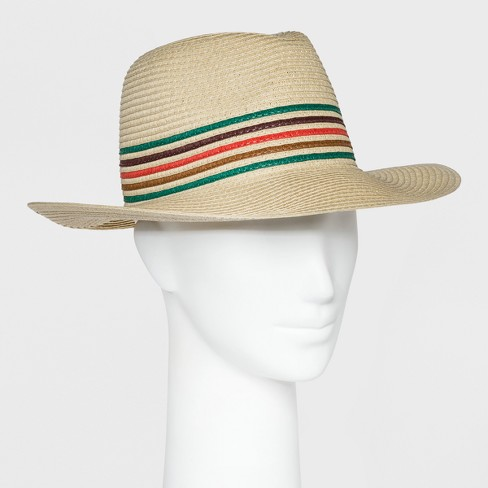 5bd84dfd142332 Women's Straw Striped Panama Hat - A New Day™ Tan One Size : Target