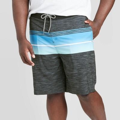 "Men's Big & Tall 10"" Striped Transponder Board Shorts - Goodfellow & Co™ Gray Ink 44"