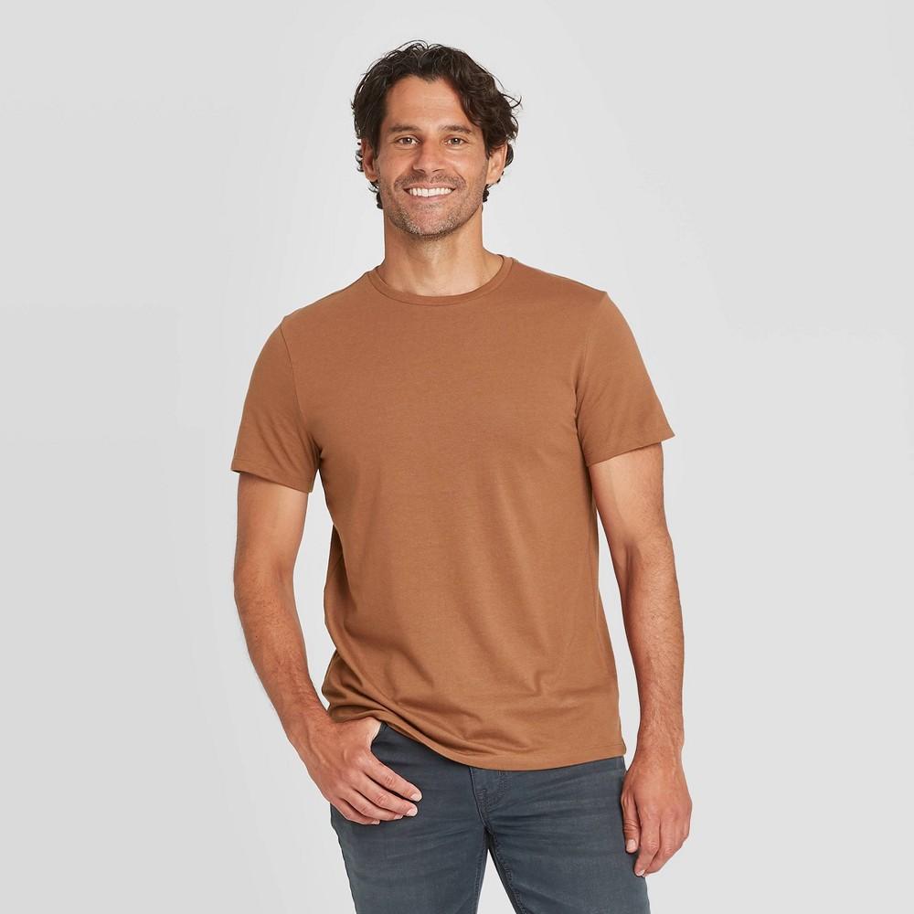 Men 39 S Regular Fit Crewneck T Shirt Goodfellow 38 Co 8482 Brown Xl