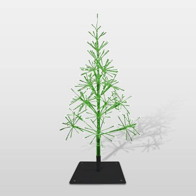 5ft Alpine Festive Artificial Christmas Tree With Warm White LED Lights  Green
