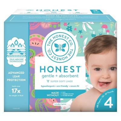Honest Company Disposable Diapers Club Box Bunnies & Sliced Fruit - Size 4 (60ct)