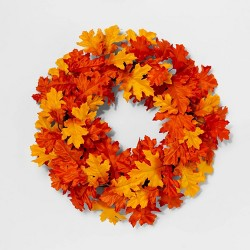 "22"" Artificial Oak Leaves Wreath Orange/Yellow - Threshold™"