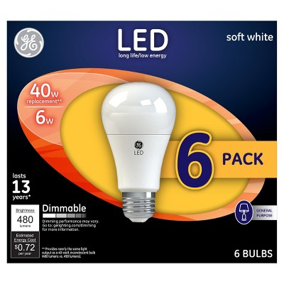 General Electric 40W LED Light Bulb Aline 6pack White