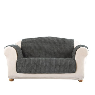 Wide Wale Corduroy Loveseat Furniture Cover - Sure Fit