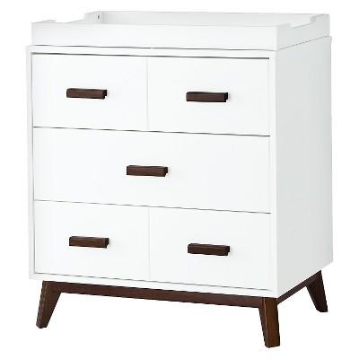 Babyletto Scoot 3-Drawer Changer Dresser - White/Walnut
