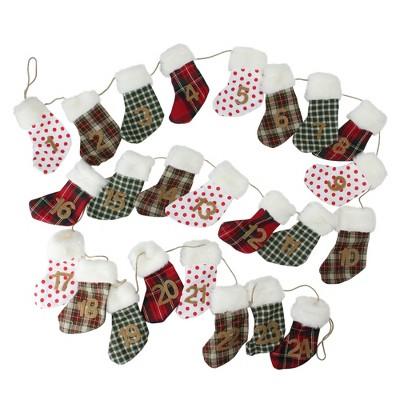 "Northlight 8' x 8.25"" Unlit Red/Green Advent Stocking Christmas Garland"