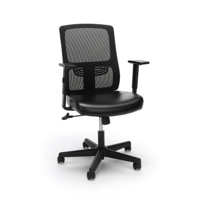Essentials Collection Ergonomic Mesh Back Chair with Bonded Leather Seat Black - OFM